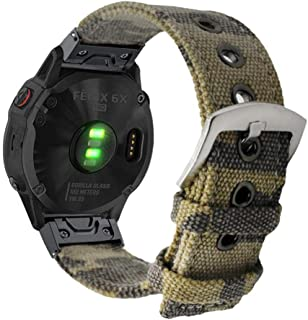 YOOSIDE Watch Band 26mm Quick Fit for Fenix 5X/Fenix 6X,Woven Canvas Camouflage Pattern Soft Breathable Wristband Strap fo...