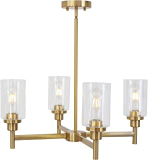 VINLUZ 4 Light Chandelier Modern Metal Pendant Lighting Brushed Brass Traditional Cylinder Ceiling Light with Clear Glass Shades Fixtures for Dining Room Kitchen UL Listed