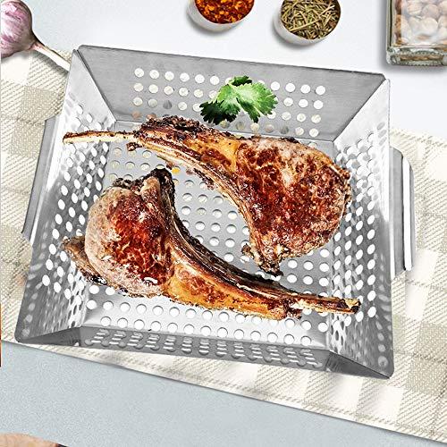 Best Goods Parrilla de acero inoxidable 100 %, perfecta para verduras a la parrilla, bandeja de parrilla adecuada para todos los tipos de barbacoa, grande.