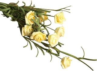 Ramo de Rosas Artificiales Flores Artificiales de Seda Rosas Artificiales de plástico Ramo de Boda para hogar jardín Fiesta Artificial con Cañas Naturales para Decoración Árbol Artificial Jodier