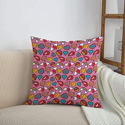 Fundas de cojines sencillas y clásicas de 45 x 45 cm,Emoji, fondo de corazones punteados con arco iris amor muj,ideales para casa, oficina o para la espalda en el coche - Fundas de Poliéster para sofá
