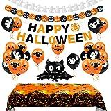 Aurasky Deco Halloween, Decoration Halloween Interieur, Ballons d'Halloween, Nappe de décoration d'halloween, Banderole Banniere Happy Halloween, Guirlandes Citrouilles et Fantôme