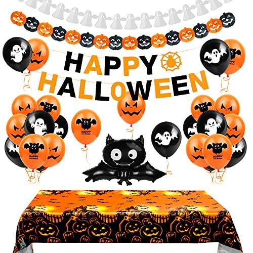 Aurasky Halloween Decoracion, Globo de Halloween, Mantel de Halloween, Decoracion Halloween Casa, Decoración de Fiesta de Halloween Set, Pancarta de Feliz Halloween