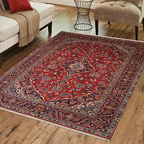 TrendyLiving4U tapijt woonkamer laagpolig Perzië Kashan handwerk 138x220cm rood