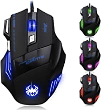 Zelotes Ergonomic 7200 DPI LED Optical Wired Gaming Mouse Mice 7 Buttons For Pro Gamer PC Laptop Desktop Mac Notebook-Black by AFUNTA-Black(T80)
