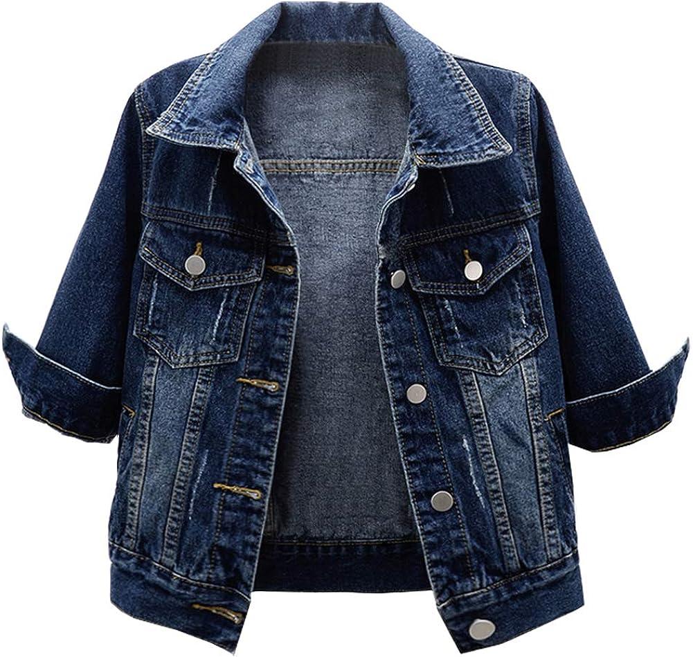 Kedera Women Ripped Distressed 3/4 Sleeve Retro Short Denim Jackets Blue Jean Coats