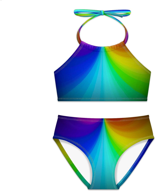 Girls Swimsuit Popular standard Rainbow Challenge the lowest price Bright Light Two Bikini Pieces Set