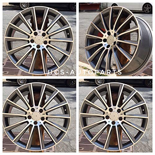 NEW 18 inch x 8.5/9.5 S550 AMG Style Staggered Wheels Rims 5 lug Gunmetal Machined Face compatible with MERCEDES BENZ Set of 4