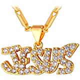 U7 Cubic Zirconia Iced Out Jesus Piece Necklace 18K Gold Plated Statement Pendant with 22 Inch Chain for Men