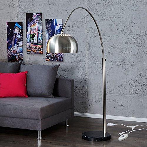 Big Bow BOGENLEUCHTE Chrome GEBÜRSTET dimmbar mit DIMMER Retro Leuchte Design Stehlampe Silber