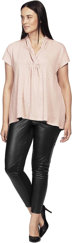 ellos Women's Plus Size Faux Leather Front Ponte Leggings