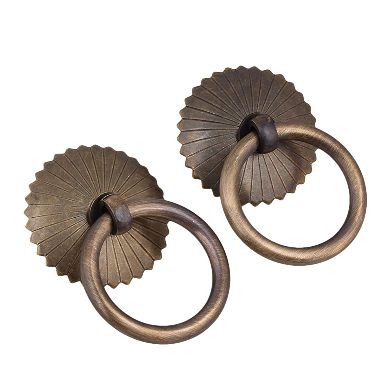 2PCS Antique Brass Jewelry Box Cabinet Drawer Drop Ring Pull Handle (Gasket Diameter:40mm/1.57inch)