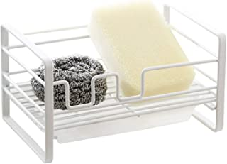 Sponge Holder for Kitchen Sink - Sponge Holder, Kitchen Sink Organizer, Sink Caddy, Kitchen Sink Sponge Holder, Brush Soap Holder with Removable Tray, Painted Stainless Steel Sponge Holder (White)