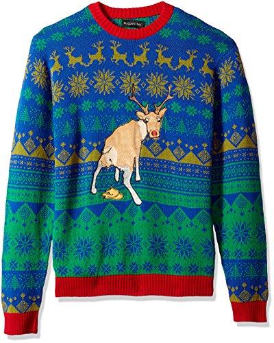 Blizzard Bay Men's Ugly Christmas Sweater Reindeer, Green/Blue, Medium