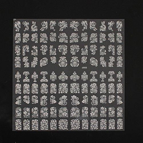 Bluelover 108Pcs Silver Flower Lace Designed Nail Art Sticker Autocollant Décoration