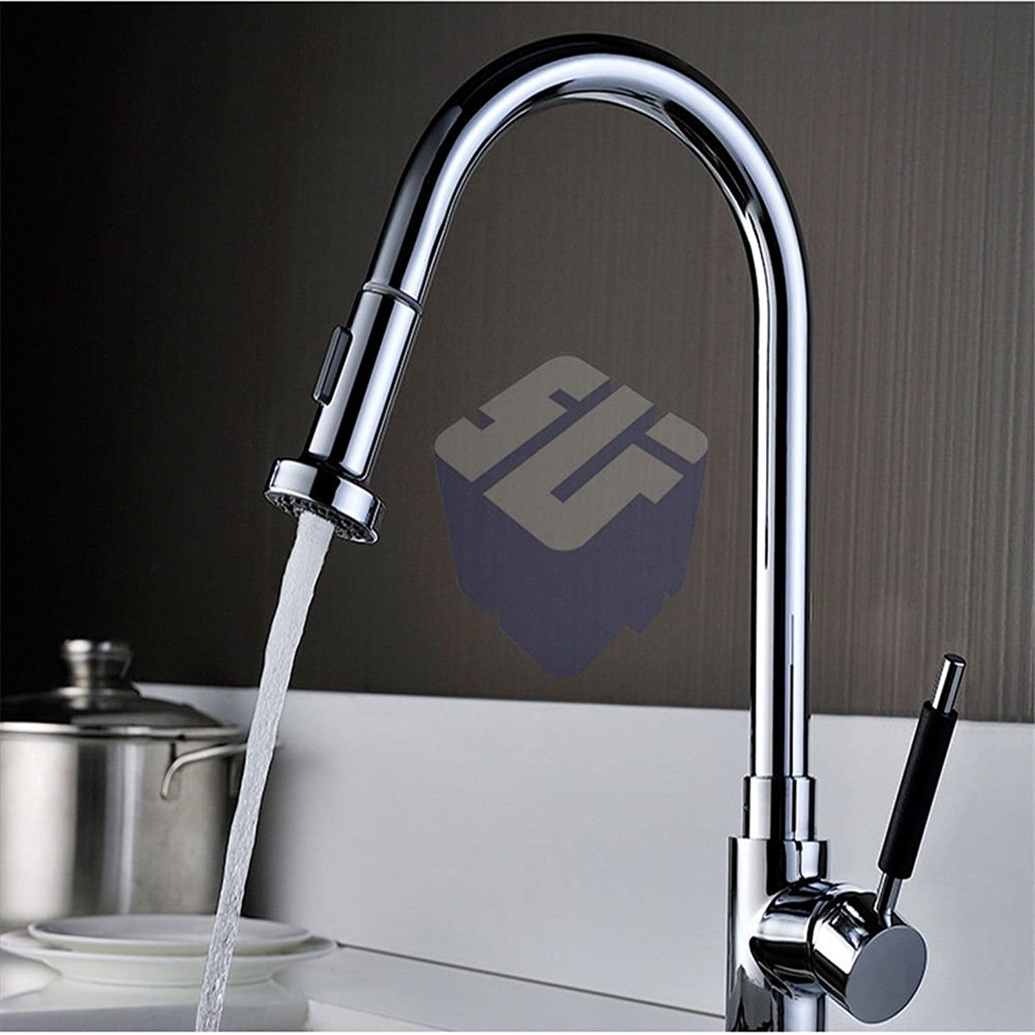 QIMEIM Professional Kitchen Sink Tap Brass Pull-Out Hot and Cold Water Basin Mixer Tap Basin Kitchen Faucet
