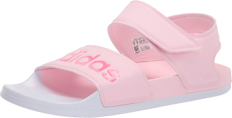 adidas Women's Adilette Sandal Slide, Clear Pink/Cherry Metallic/White, 10