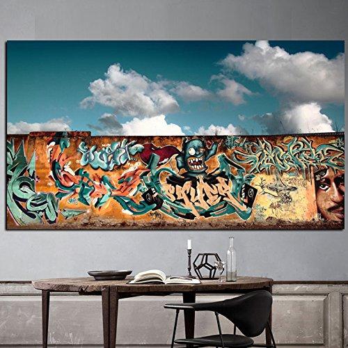 sanzangtang Rahmenlose Malerei Graffiti Hintergrund weiße Wolken auf Leinwand Bild Dekoration der modernen Pop-Art Wand WohnzimmerZGQ5942 60X120cm
