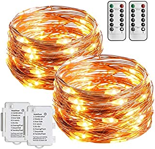 Fairy Lights Battery Powered, esLife 2 Pack 36ft 100 LED Copper String Lights 8 Modes Waterproof String Light for Bedroom ...