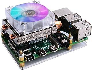 GeeekPi Raspberry Pi Low Profile CPU Cooler, Raspberry Pi Horizontal Ice Tower Cooler, Ventilador RGB con Raspberry Pi Dis...