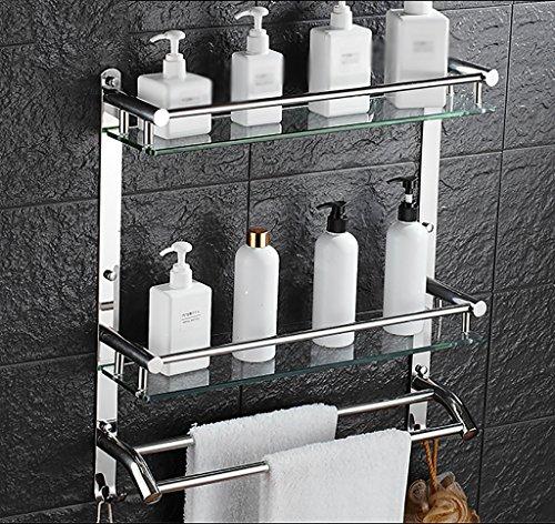 Bathroom Rack YSJ Salle de Bains Verre rectangulaire étagère Murale Verre trempé Extra épais, Section Lumineuse (Taille : 51 * 13 * 56cm)