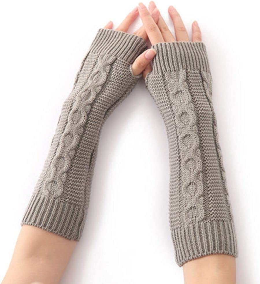 NC 1 Pairs Knitted Arm Warmers Gloves Winter Long Fingerless Gloves Knit Arm Warmer Thumb Hole Gloves Mittens Knitted Arm Warmer Thumb Hole Gloves Mittens for Women and Men
