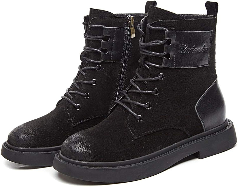 BeautyOriginal Women's Comfort Low Heel Lace Up High Top Martin Boots