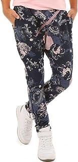 Dykmod Pantalones de skate para niña con cremallera y estampado de flores y camuflaje, 116-158