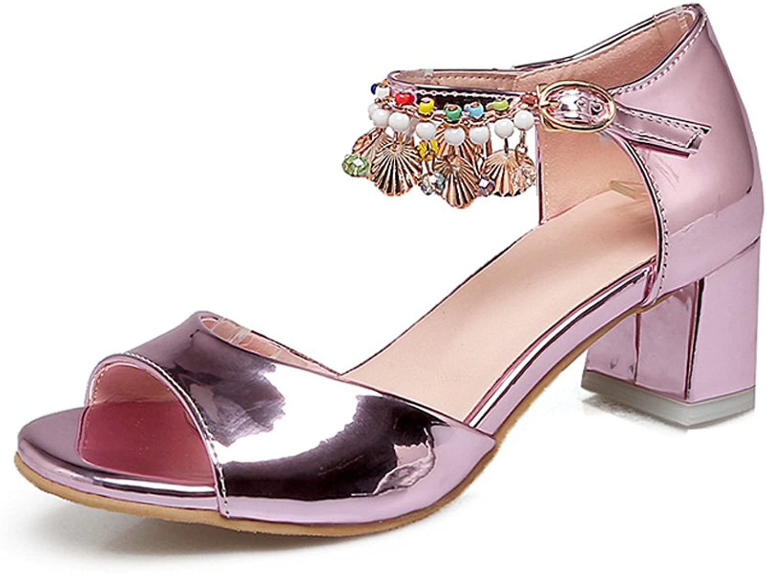 Genepeg Womens Sandals Summer Gladiator Bohemia String Bead High Heels Party shoes Pink
