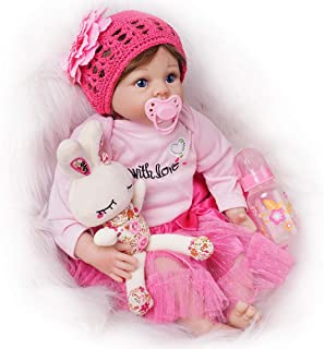 Seedollia Lifelike Reborn Baby Doll Girl Silicone Blue Open Eyes New Born 22 Inch Pink Dress