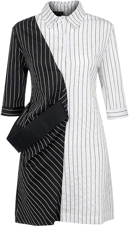 EUIO Women Fashion color Block Striped Dress TurnDown Neck Long Sleeve Dress Striped Plaid Women Dresses Summer Casual Dress Girl (color   White, Size   S)