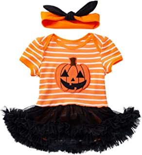 dc7e66834666c Kolylong 2018 Halloween Robe Tutu de soirée Barboteuse Déguisement  Citrouille Imprimer Nouveau né Bébé Fille Princesse
