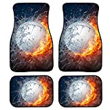 Coloranimal - Juego completo de 4 alfombras protectoras para el suelo de coche, diseño de pelota de voleibol, juego completo de 4 alfombras protectoras
