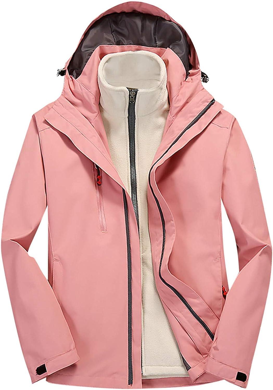ATRISE Women Hooded Waterproof Zipper,Jacket Windproof,Waterproof Jacket Two Piece Set Coats Oversize