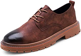 Yong Ding Men Oxfords Shoes Leather Upper Breathable Non Slip Brogues Shoes with Lace Up Closure for Both Formal and Casual Occasions 7.5US Black
