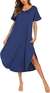 AVIIER Long Nightgown Womens Lounge Dresses with Pockets V Neck Sleeveless Sleepwear Chemise S-XXL