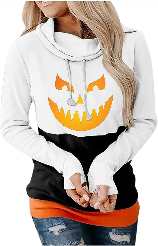 Jaqqra Halloween Hoodies for Women Plus Size Pullover Cute Pumpkin Printed Long Sleeve Drawstring Hoodie Tops Oversized