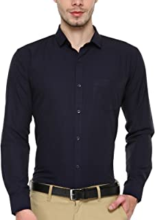 BEING FAB Navy Blue Solid Slim Fit Casual Shirt…