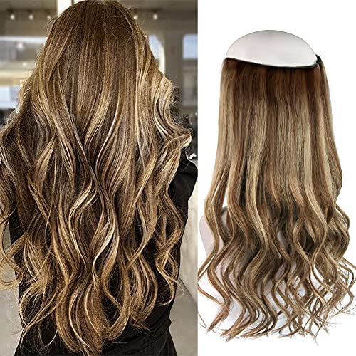 Oreola Halo Hair Extensions Human Hair with Elastic Band, 20 Inch 120 Gram Invisible Wire Fish Line Hair Extensions Straight, 100% Human Hair Extensions, #RP4-4/27