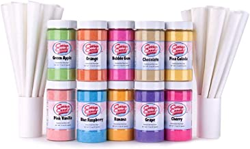 Cotton Candy Express 10-Count Floss Sugar Variety Kit with 100 Paper Cones, 11-Ounce Jars