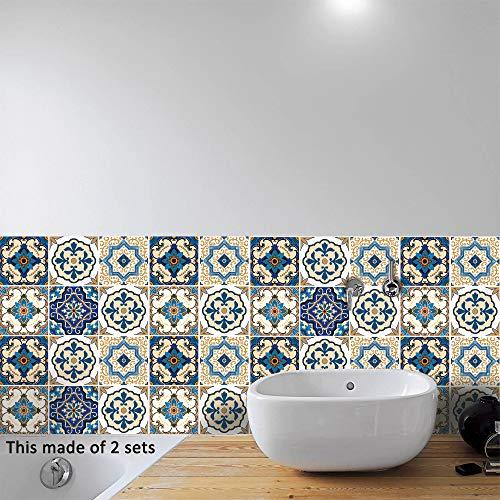 AILEGOU Wasserdichte Vinyl-Wandfliesen-Aufkleber für Heimdekoration, selbstklebend, zum Abziehen und Aufkleben, für Küche, Badezimmer, Dekoration, 15,2 x 15,2 cm, 10 Stück (mediterran)