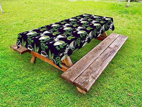 ABAKUHAUS Jasmijn Tafelkleed voor Buitengebruik, Gezonde biologische thee, Decoratief Wasbaar Tafelkleed voor Picknicktafel, 58 x 104 cm, Veelkleurig