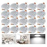 Hengda® 20er-Pack 5W LED Einbauleuchten Kaltweiß 6500K AC 230V Schwenkbare Einbauspots mit Kabel Trafo
