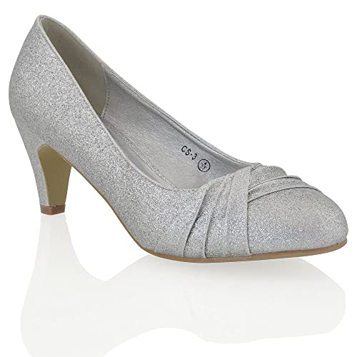 761745be533b Womens Low Heel Satin Glitter Ladies Bridal Evening Party Slip On Court  Shoes