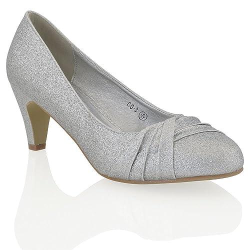 4ef0d0d4af4 Womens Low Heel Satin Glitter Ladies Bridal Evening Party Slip On Court  Shoes