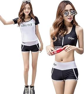 Fout 水着 レディース ビキニ タンキニ UVカット 長袖 半袖 紫外線防止 2way 体型カバー 3点セット(Tシャツ+ブラ+ショートパンツ)