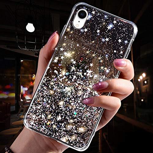 QPOLLY Coque Compatible avec iPhone XR, Transparent Paillettes Étoile Bling Glitter Fille Femmes Coque Ultra Mince Silicone TPU Souple Gel Bumper Crystal Clear Antichoc Housse Étui,Noir