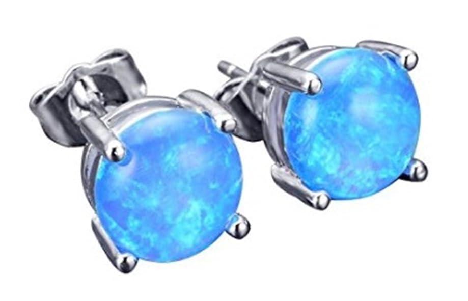 Fortonatori Created Opal Earrings Stud Silver 925 Round Cut Ball 0.29 inches (7.5mm)