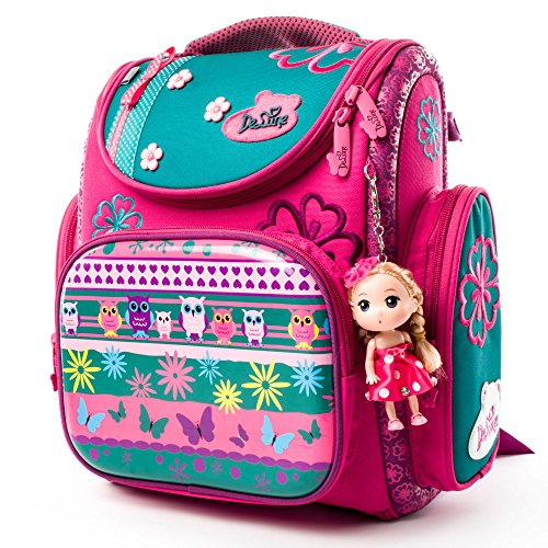 Delune 3D Cartoon Kids Boys Girls Toys Lightweight Backpack | Water Resistant Isolated Back to School Bag (Flower)