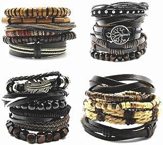 21 Piece Pack Leather Bracelets for Mens Unisex Faux Leather Bracelets Adjustable Braided Multi Cool Wrap WristbandsCool C...